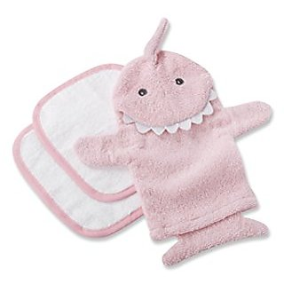 Baby Aspen Tubtime Tagalongs Shark Bath Mitt & Washcloths (Pink)