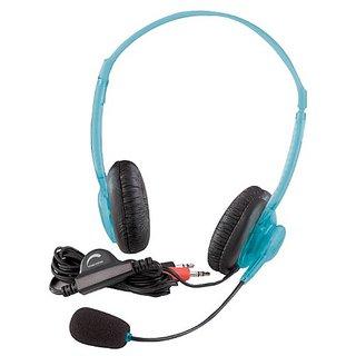 Califone 3064AV-BL Multimedia Stereo Headset W/Boom Mic, 2 -3.5mm plugs, Blueberry