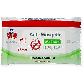 Pigeon Baby Wipes Anti-mosquito Wet Tissue Deet-free Children 6 Months + 12 Sheets Best Product From Thailand