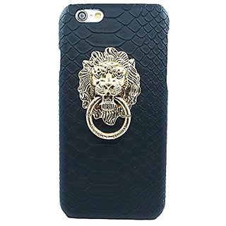 Fashion Case Ultra Slim Snake Texture Hard Shell Case with Lions Head Ring Stand for iPhone 6 Plus (5.5 Inch Screen) (Bl