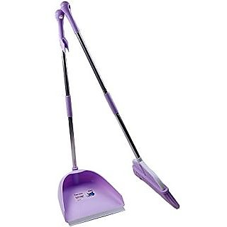 Anbers Upright Sweep Set,Angle Broom with Dust Pan,Comfort Grip Handle (purple)