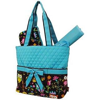 Zebragogog Owl TownTM Print 3pc Diaper Tote Bag (Turquoise)