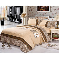 Rc Homes Brown Leopard Print Bedding Set