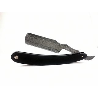 Handmade Damascus Steel Straight Edge Folding Knife with Buffalo Horn Handle. Hand Hammered and Forged 15N20 & 1095 Stee