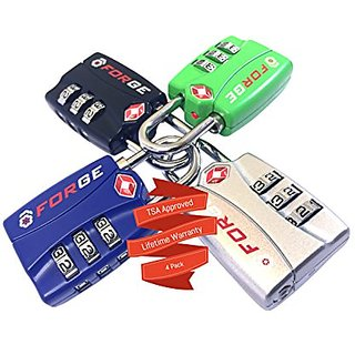 4 Pack【Open Alert】IndicatorBest TSA Approved Luggage Locks4 Colors3 Digit CombinationTheft Protection on o