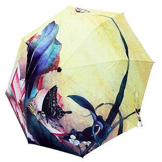 TianQi Butterfly Sun/Rain Umbrella Parasol for Womens,3 Folding,Anti Uv,UPF 40+