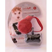Petstuff Retractable Dog Leash Plus Waste Bag Dispenser & Bags -Dogs Up To 22 Lbs. - 10 Ft. RED