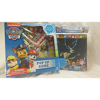 2pc Paw Patrol Bundle Includes Pop N Race Game & Chalkboard Set