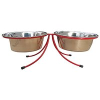 Fine Life Pet Stainless Steel Double Diner Bowl, Red