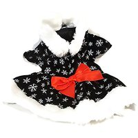XS Extra Small Black Velvet Dress Snowflakes With White Fur Trim And Red Ribbon Dog Pet Holiday Velcro Closure