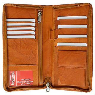 Genuine Leather Travel wallet - Style mw663CF,Tan,Regular