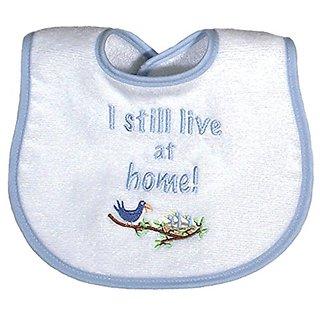 Raindrops I Still Live At Home Embroidered Bib, Blue