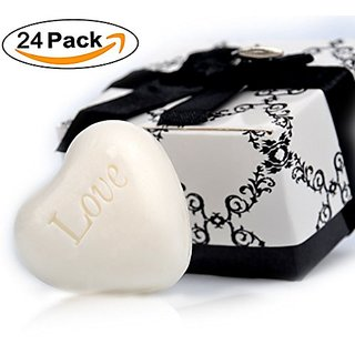 Aistore Cute Mini 24 Pieces Heart Soap For Wedding Soap Favors And Gifts Or Baby Shower Soap Favors