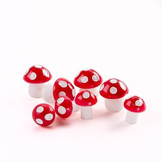 Fairy Garden Miniature Mushrooms: Red & White, 8 pack