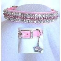 Pink Velvet Princess Crystal Rhinestone Pet Dog Cat Collar Sz MEDIUM