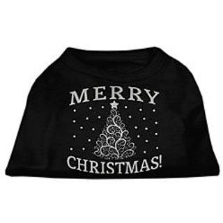 Mirage Pet Products Shimmer Christmas Tree Pet Shirt, Medium, Black