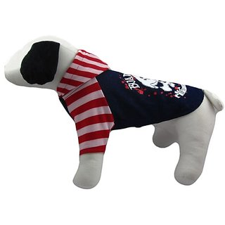 Alfie Couture Designer Pet Apparel - Sawyer Striped Hoodie - Color: Red, Size: L