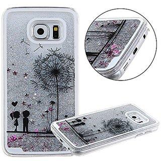 Galaxy S6 Case,Samsung Galaxy S6 Silver Bling Glitter Liquid Case,UZZO Flower Fairy Dandelion Design Liquid Flowing Glit