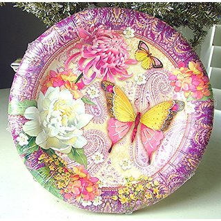 #95917 Punch Studio Paper Luncheon / Dessert Party Plates 16 Ct Pink Paisley Butterfly