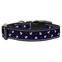 Mirage Pet Products Anchors Nylon Ribbon Collar For Pets, Medium, Blue