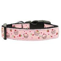 Mirage Pet Products Cupcakes Nylon Ribbon Collar For Pets, Medium, Light Pink