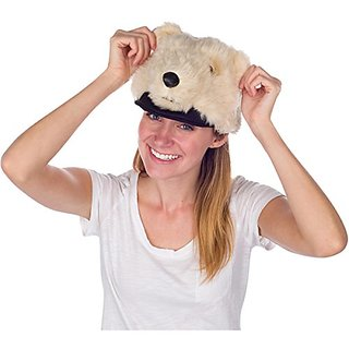 Rittle Furry Polar Bear Animal Hat, Realistic Plush Costume Headwear - One Size
