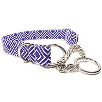 Tribal Diamonds In Purple Half Check Chain Collar, Designer Cotton Dog Collar, Adjustable Handmade Fabric Collars (M)