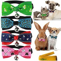 Cat Dog Rabbit Pet Bow Tie Collar With Cloth Bowknot And Alloy Bell For Small Cats Kitten Dogs Puppy Rabbits, Pack Of 4(