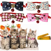 Cool Gentle Stylish Adjustable Pet Cat Dog Rabbit Cloth Bow Tie Bowknot Collar With Alloy Bell For Kitten Small Cats Dog