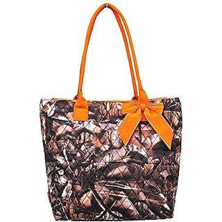 NGIL Quilted Camo Print Medium Tote Bag (Orange)