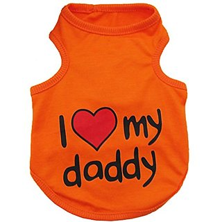 Small Pet Dog I LOVE MY DADDY MOMMY Cotton T- shirt Vest Summer (Orange, L)