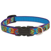 Lupine 1/2-Inch Peace Pup 6-9-Inch Adjustable Dog Collar For Small Dogs