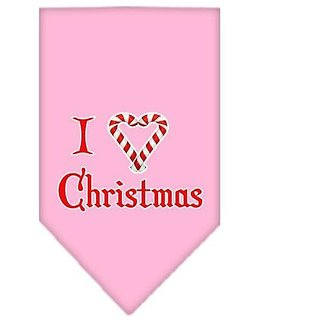 Mirage Pet Products Heart Christmas Screen Print Bandana for Pets, Small, Light Pink