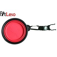 Pet Leso Dog Water Bowl Feeder Cat Bowls Portable Pet Travel Bowl Water With Carabiner Compass -Pink