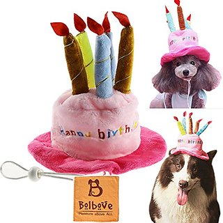BroBear Dog Birthday Hat with Cake & Candles Design Party Costume Accessory Headwear Pink (One Size Fits Most)