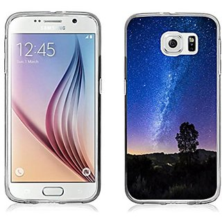 S6 Case, Samsung Galaxy S6 Case Flexible TPU Sides purple starry night