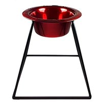 Platinum Pets Pyramid Diner Stand With 2-Cup Stainless Steel Bowl, Candy Apple Red