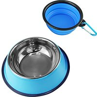 MEWTOGO Pet Non-slip Non-tip Stainless Steel Dog Cat Bowl-Durable Feeding Container For Pets (Free Silicone Bowl Include