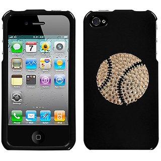 Black and White Crystal Rhinestone Bling Bling Baseball Sport Image for At&t Sprint Verizon Iphone 4 Iphone 4s 16gb 32gb