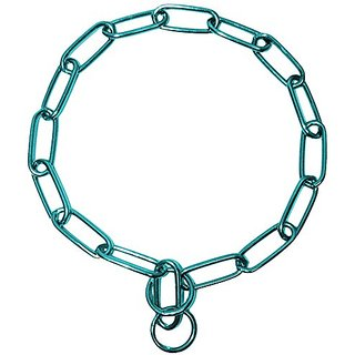 Platinum Pets Stainless Steel Coated Fur Saver Chain Training Collar, 22-Inch by 3mm, Teal