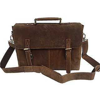 Universal Leather Vintage Buffalo Hunter LeatherLaptop Bag Office Briefcase 15X11X4 Inches Brown