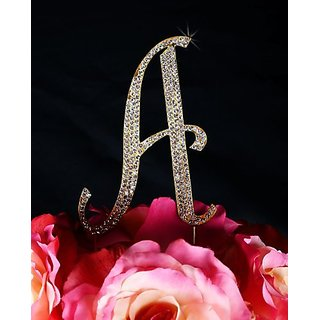 Unik Occasions Sparkling Collection Crystal Rhinestone Monogram Cake Topper - Letter A, Large, Gold