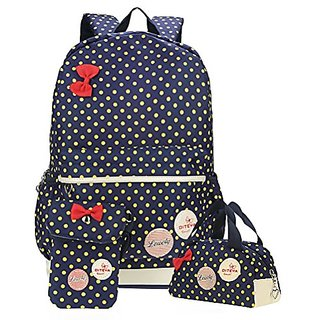 Samaz 3pcs Lightweight Casual Canvas Backpack Cute Bow School Bags for Teen  Girls c66ef503877c4
