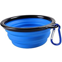 LENDOO Collapsible Dog Travel Bowl Portable Pet Feeder Cat Waterer Bowl Food Trainer FDA Approved Silicone Dish 450ML Wi