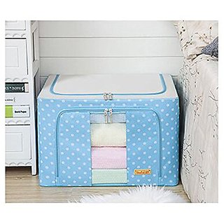 Tune Up 66L Storage Box With See-through Window, Durable Oxford Fabric Foldable Steel Shelf Lidded Storage Box (Light Bl