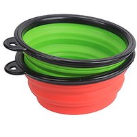 Color Our Life Portable Collapsible Pets Silicone Food & Water Travel Bowl,2 Pack, Dog Pop-up Food Water Feeder Foldable