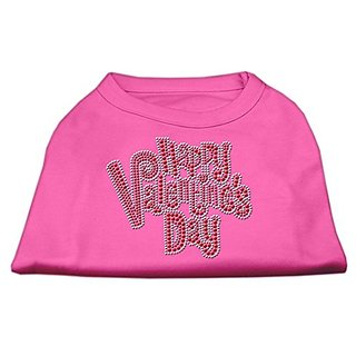 Mirage Pet Products Happy Valentines Day Rhinestone Dog Shirt, XX-Large, Bright Pink