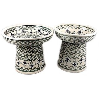 Polish Pottery Raised Dinnerware Set: Wet Food Dish/Dry Food Bowl Cat or Small Dog Rhine Valley