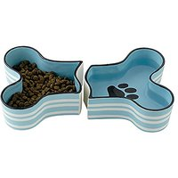 Bone Dry Ceramic 2 Piece Bone Shaped Pet Bowl For Food And Water, Blue