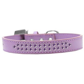 Mirage Pet Products Two Row Purple Crystal Lavender Dog Collar, Size 20